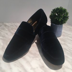 Zara velour dark blue loafers flats